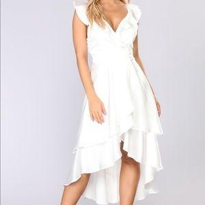 Fashion Nova M White Wrap Midi Dress